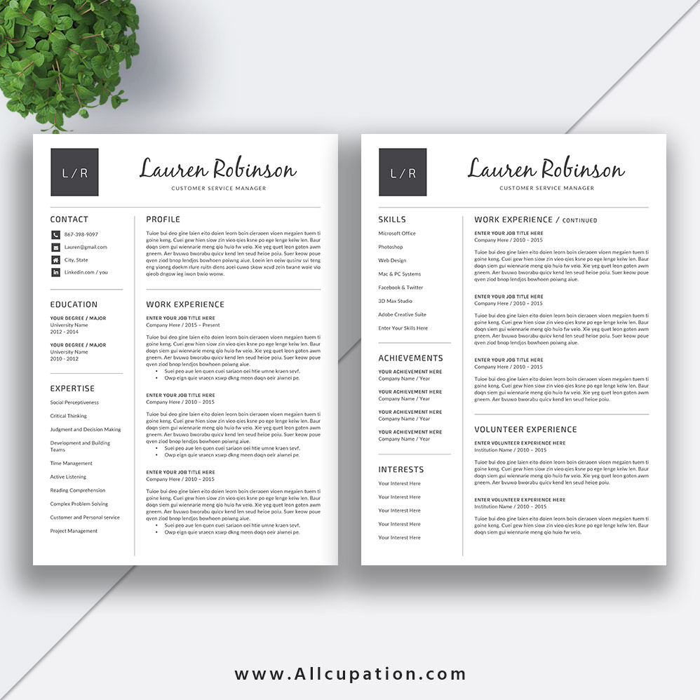 basic resume template  modern cv template  job resume word design  cover letter  references