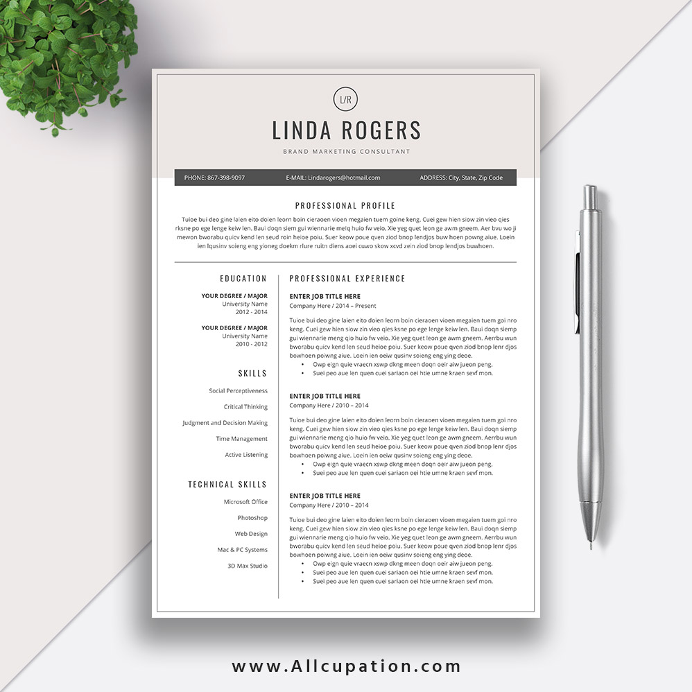 cool resume templates for mac creative resume template modern cv template word cover 20967 | www.Allcupation.com Resume Templates Images Linda 1 Page Resume