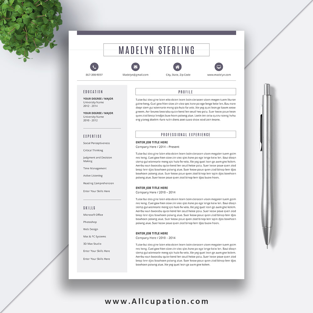 Resume Template Editable Design CV