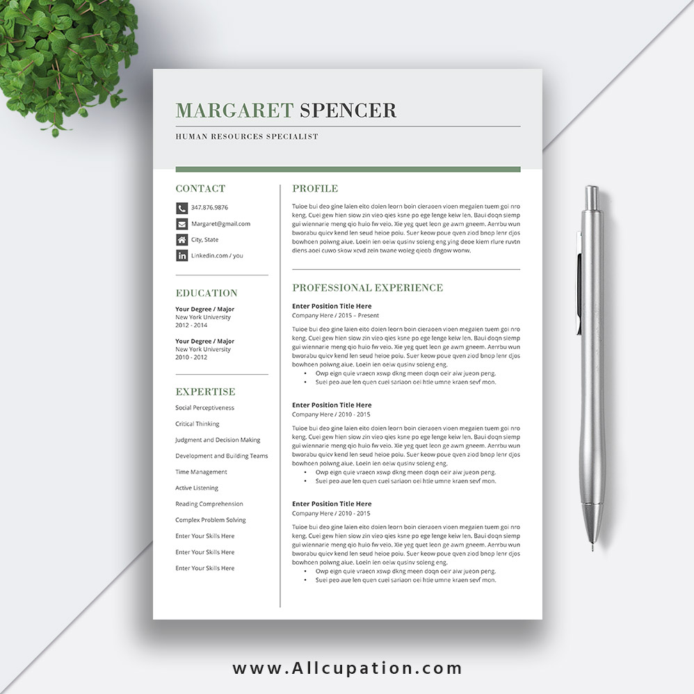 Professional And Simple Resume Template Modern Cv Template Word