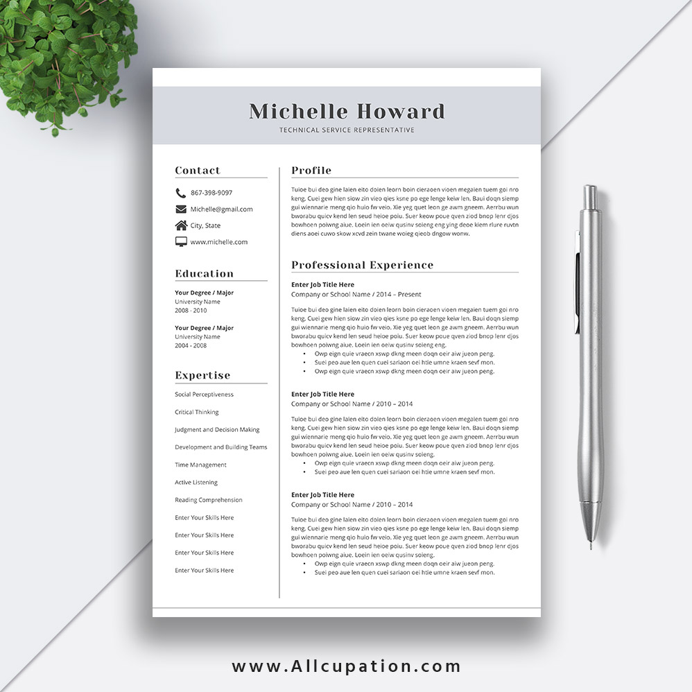 Professional Resume Template And Cover Letter Template For: Professional Resume Template, CV Template, Cover Letter