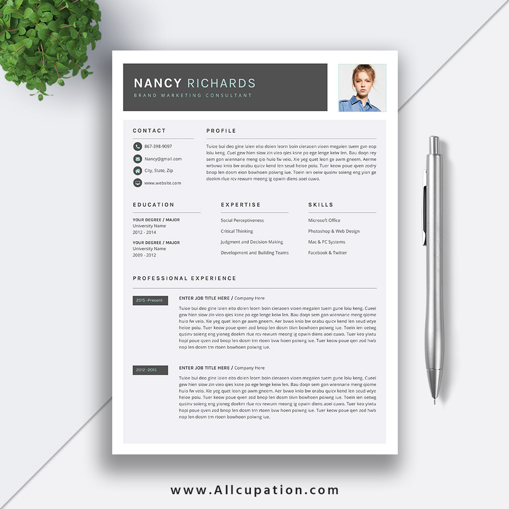 Creative Resume Template, Cover Letter, Word, Modern