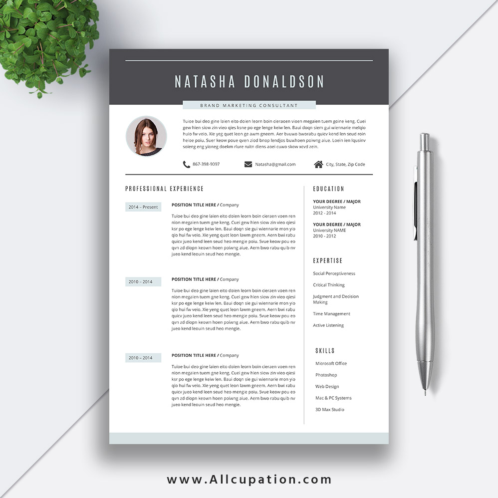 professional resume template  creative cv template  cover letter  references  word  instant
