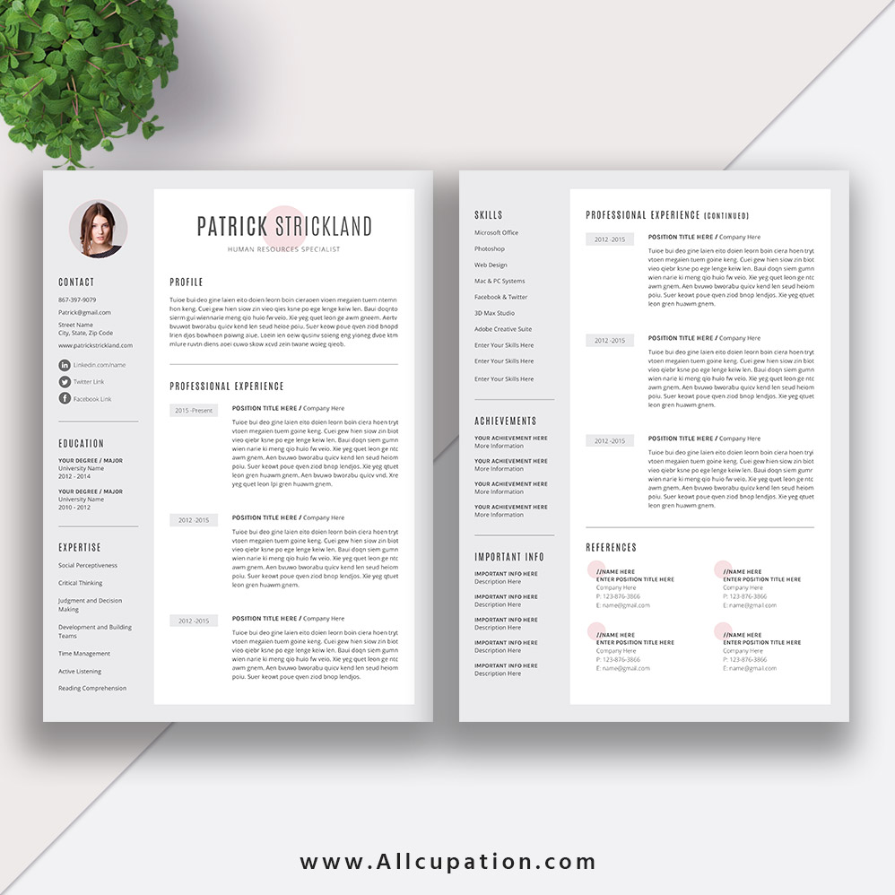 cool resume templates for mac creative resume template modern cv template word cover 20967 | www.Allcupation.com Resume Templates Images Patrick 2 Page Resume