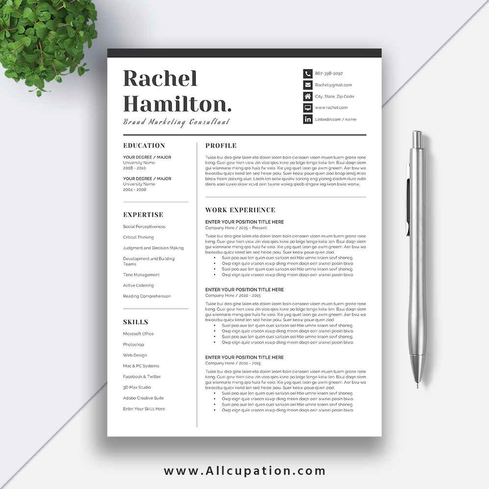 cool resume templates for mac creative resume template modern cv template word cover 20967 | www.Allcupation.com Resume Templates Images Rachel 1 Page Resume