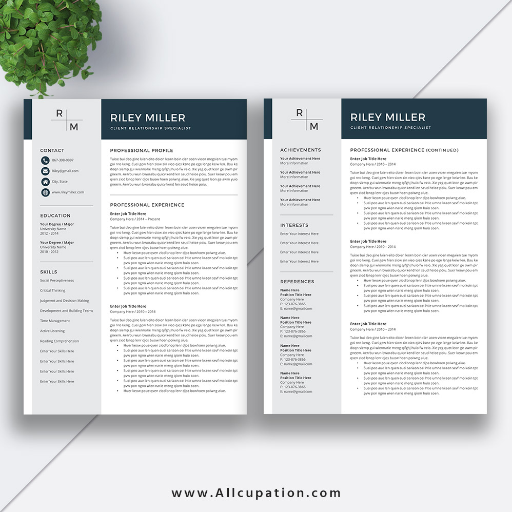 modern resume template  cv template  cover letter  references  ms office word  mac  pc  instant