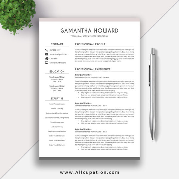creative resume template  modern cv template  word  cover letter  references  instant download