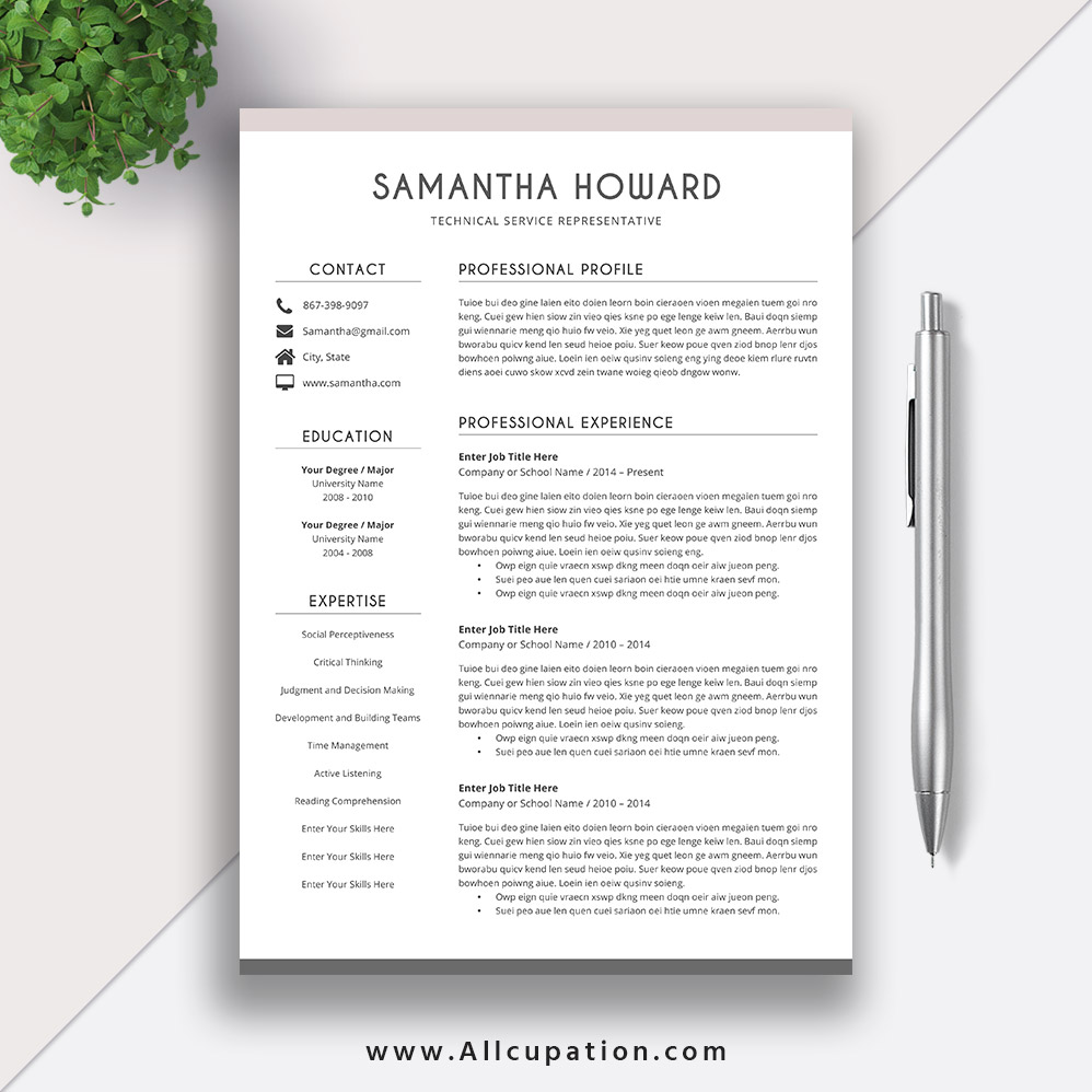 Creative Resume Template, Modern CV Template, Word ...