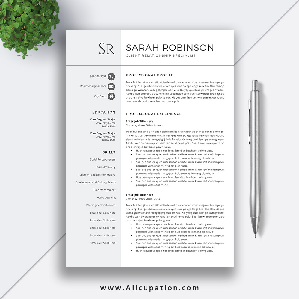 Student Resume Template 2019 Professional Cv Template Simple Design Cover Letter Word Resume Modern Creative 1 2 3 Page Sarah