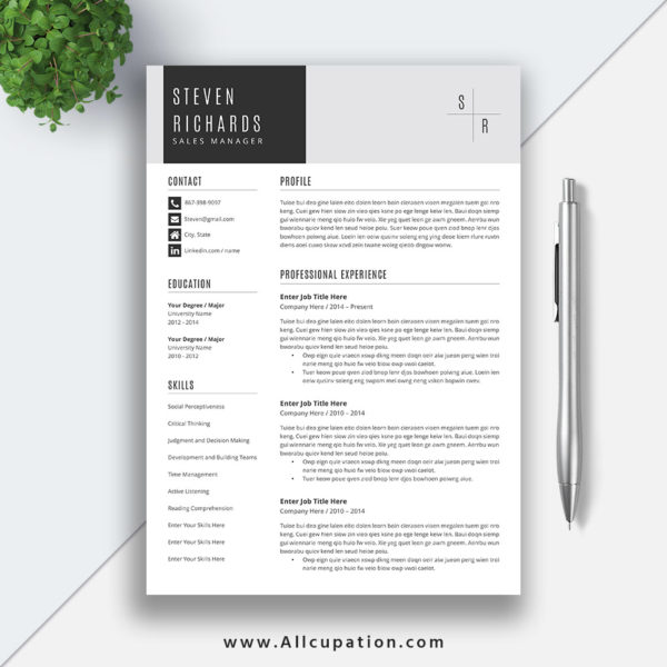 Modern Resume Template For Word 1 3 Page Resume Cover: Creative Resume Template, Cover Letter, Word, Modern