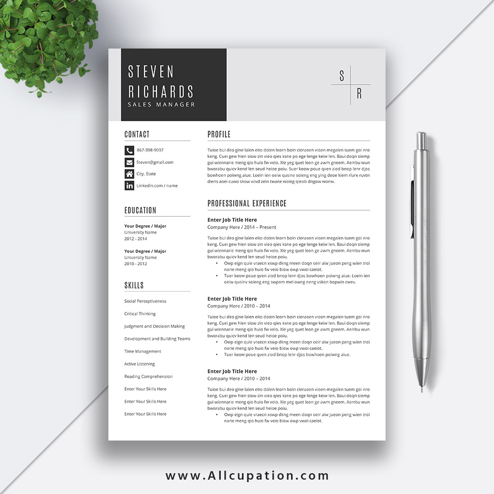 Creative Resume Template, Cover Letter, Word, Modern Simple Teacher Resume,  Instant Download, Mac or PC, STEVEN