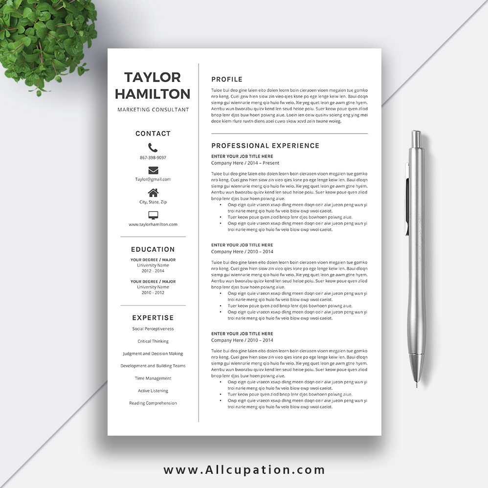Resume Template Cv Template For Word Two Page Resume Cover: Creative Resume Template, Cover Letter, 1, 2, 3 Page