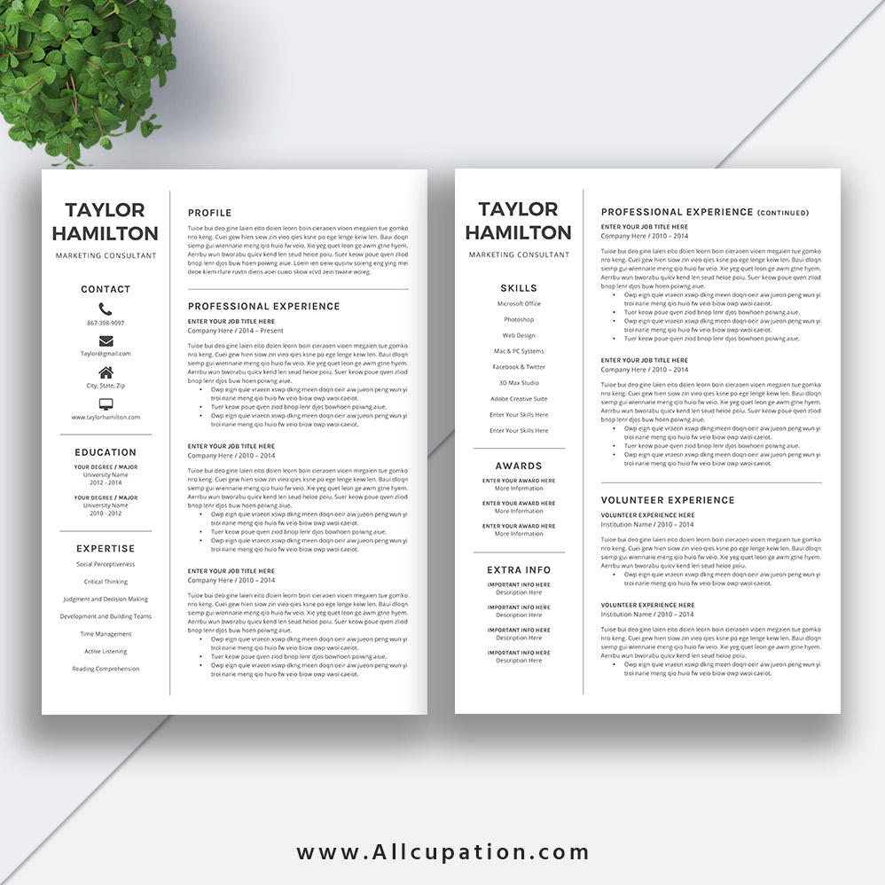 black and white resume template 2019  basic cv template  simple resume design  cover letter  1