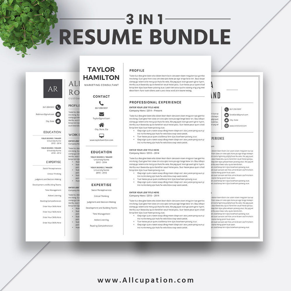 2019 Best-selling Resume Bundle The Taylor RB: Editable Resume Template, Word CV Bundle, Cover