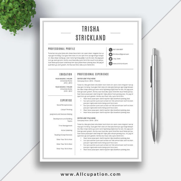 Modern Resume Template For Word 1 3 Page Resume Cover: Professional Resume Template, CV Template, Cover Letter, 1