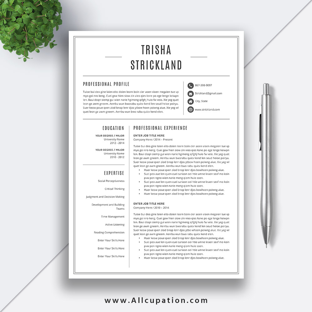 Professional Resume Template 2019 Cv Template Word Black White Resume Student Resume Cover Letter 1 2 3 Page Best Resume Trisha