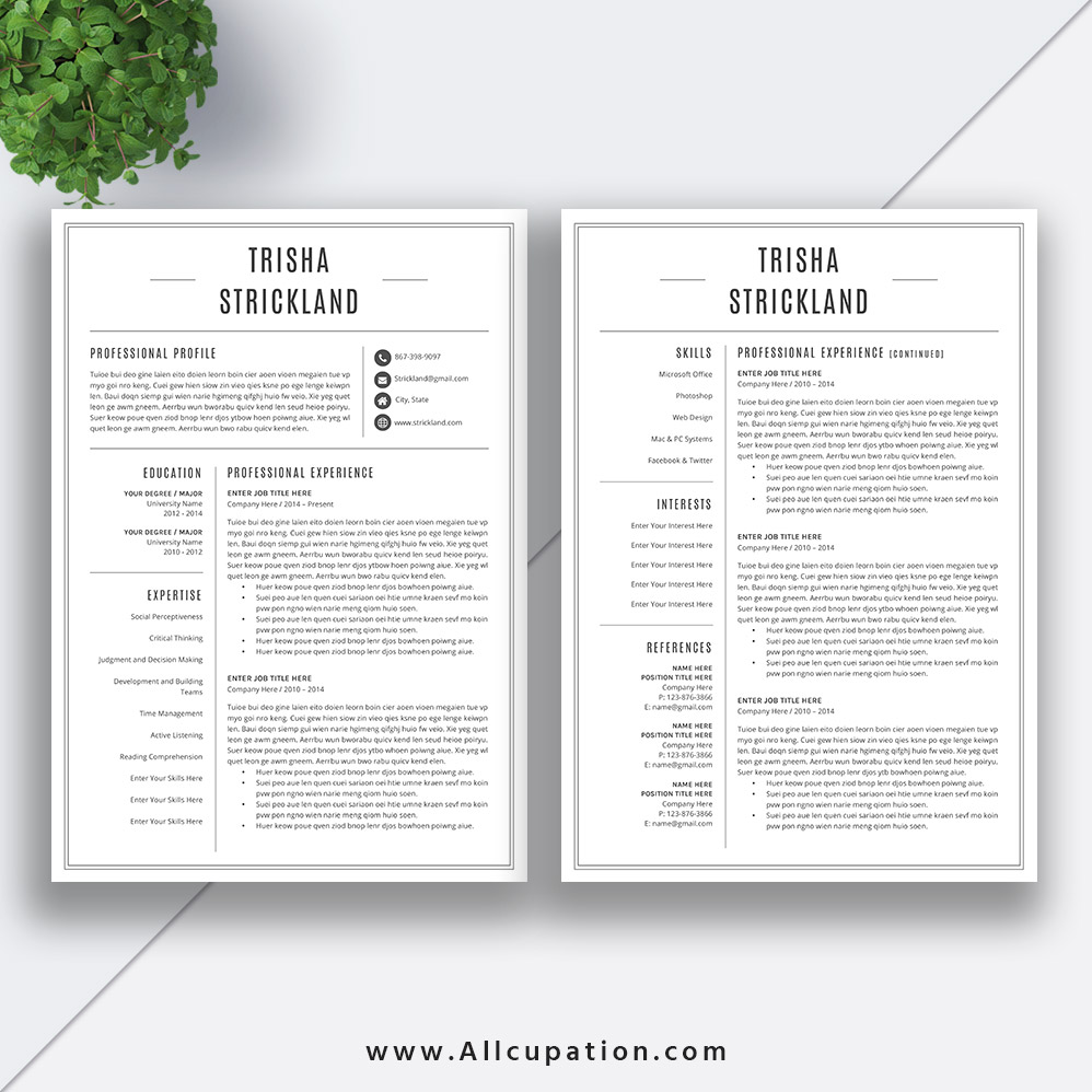 professional resume template 2020  cv template word  black