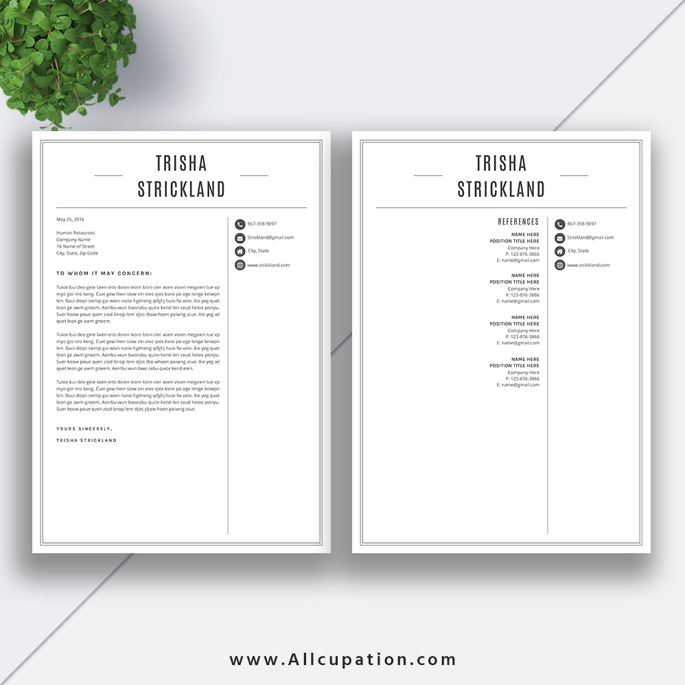 Professional Resume Template 2019, CV Template Word, Black