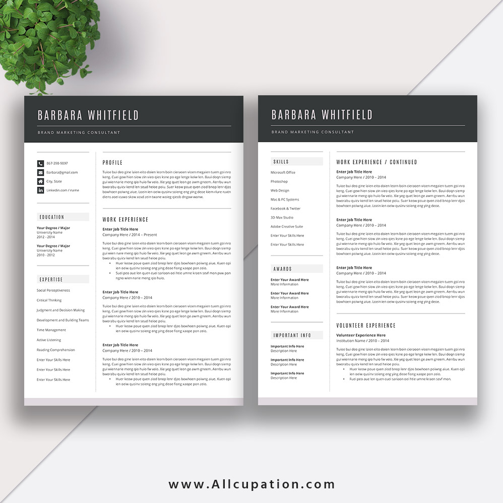 Allcupation.com | Find Your Career Opportunities In Emerging Economic  Activities With These Professional Editable Resume Templates |  #ResumeTemplate ...  Editable Resume Templates