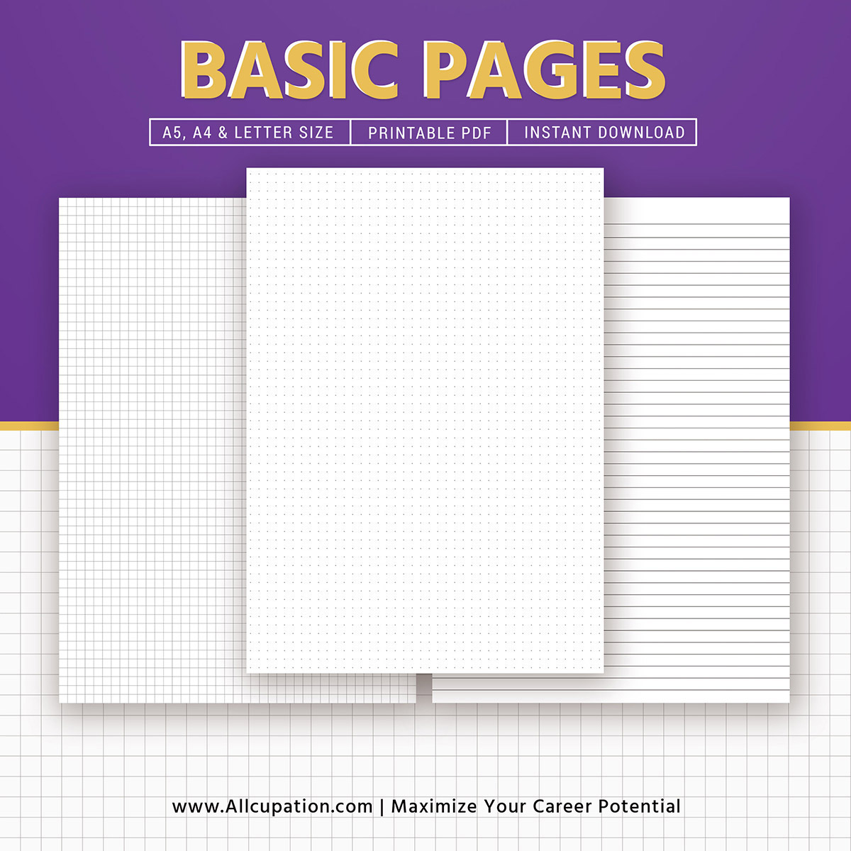 image relating to A5 Dot Grid Printable named Easy Web pages Inserts 2019, Dot Grid, Sq. Grid, Covered Paper, A4, Letter, Printable Planner, A5 Planner Binder, Filofax A5, Immediate Down load