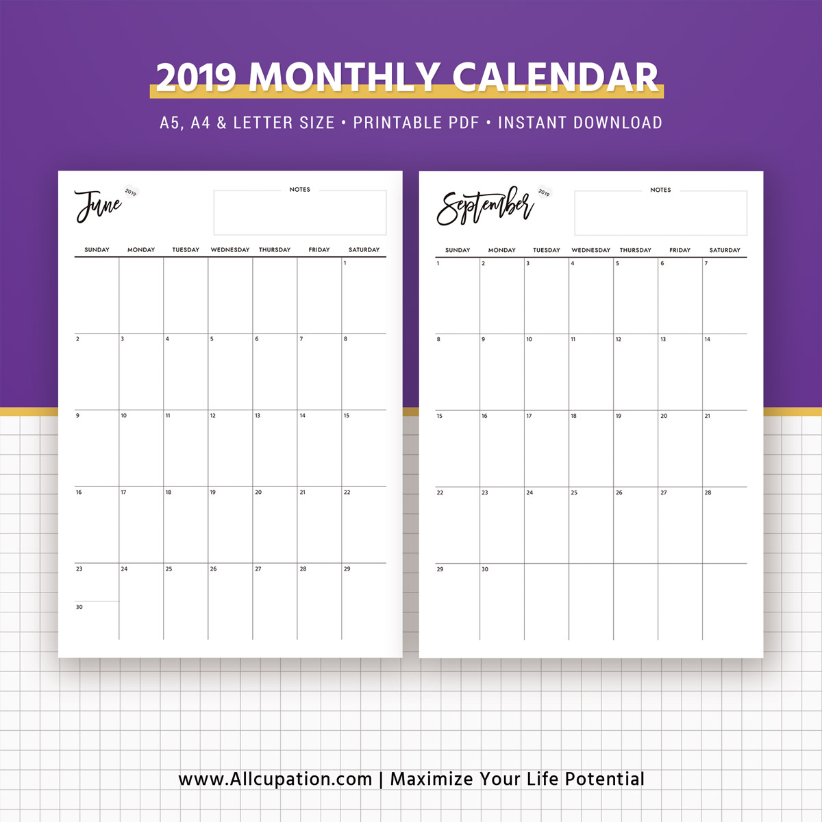 Best Printable Calendar: 2019 Monthly Calendar, Calendar 2019, Planner Design, Best