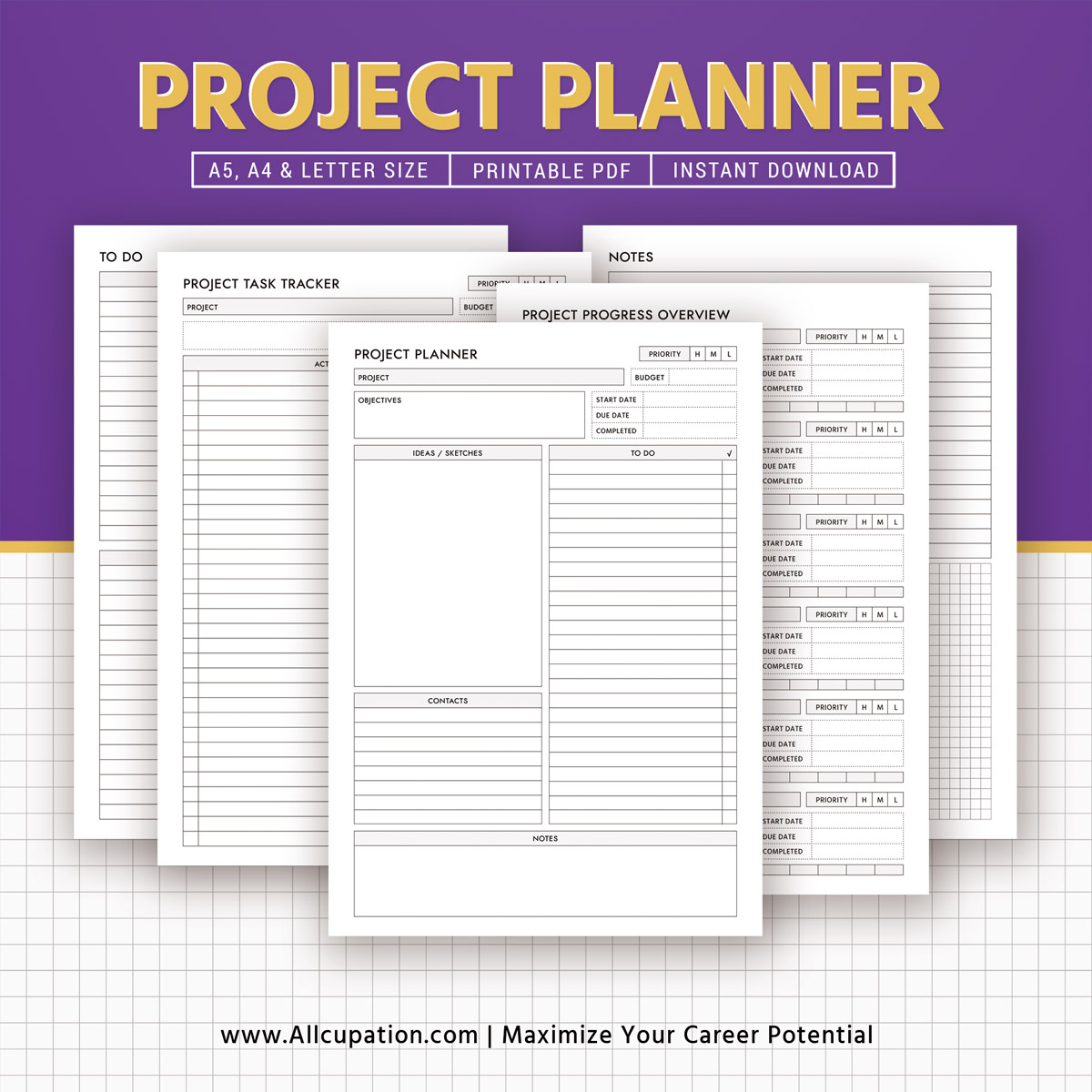 image regarding Printable Project Planner named 2019 Challenge Planner, Productiveness Planner, Get the job done Planner, Challenge Tracker, Printable Planner, Planner Layout, Excellent Planner, A5, A4, Letter, Quick