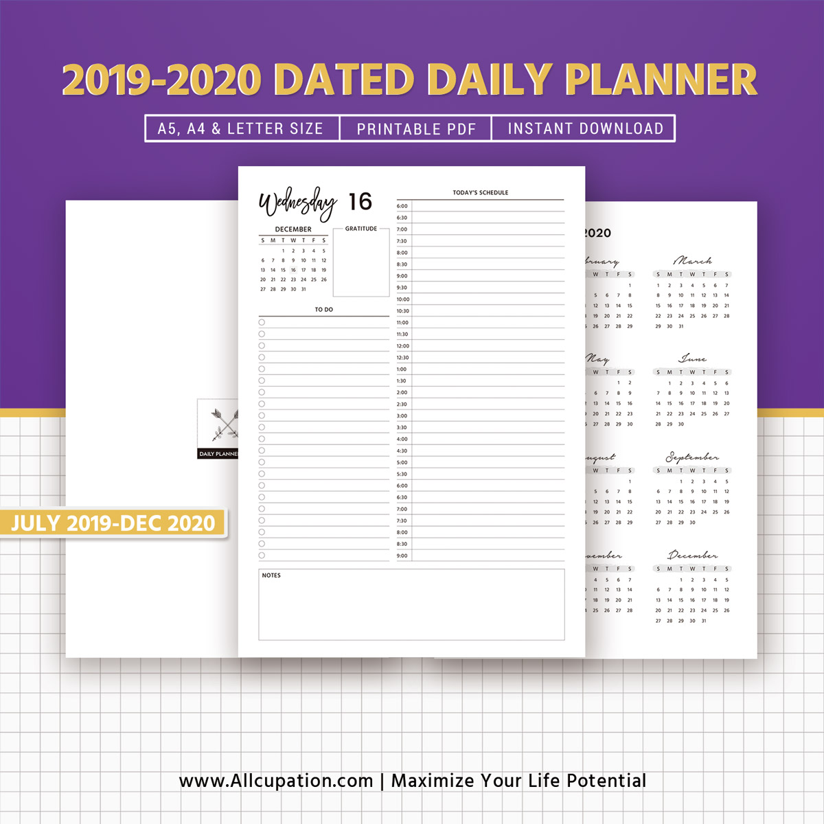 picture about Daily Agenda referred to as 2019-2020 Every day Planner Printable, Dated Every day Planner, 18 Weeks, Each day Plan, Every day Organizer, Filofax A5, A4, Letter Measurement, Planner Refills,