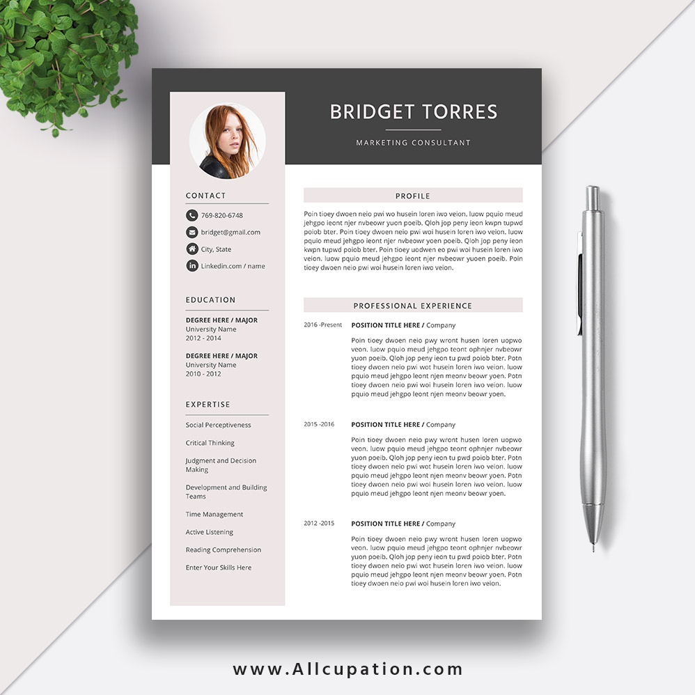 2019 Editable Resume Template, Simple CV, Modern and Creative Resume  Design, Word Resume, Cover Letter, Instant Download, BRIDGET
