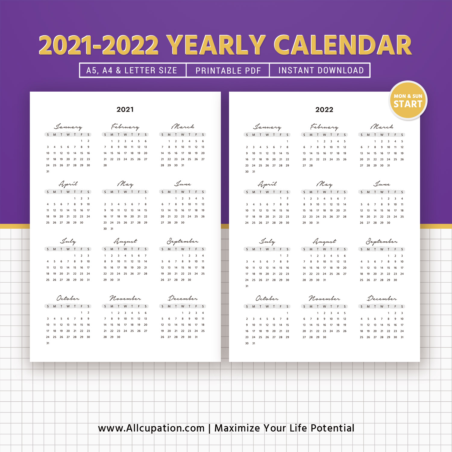 2022 Calendar At A Glance.2021 2022 Yearly Calendar Year At A Glance Printable Calendar Best Planner Planner Printable Planner Inserts Monday Sunday Start A5 A4 Letter Allcupation Optimized Resume Templates For Higher Employability